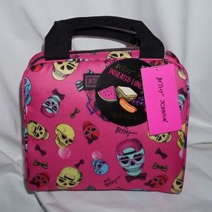 NWT BETSEY JOHNSON hot pink Skull Lunch Tote XL